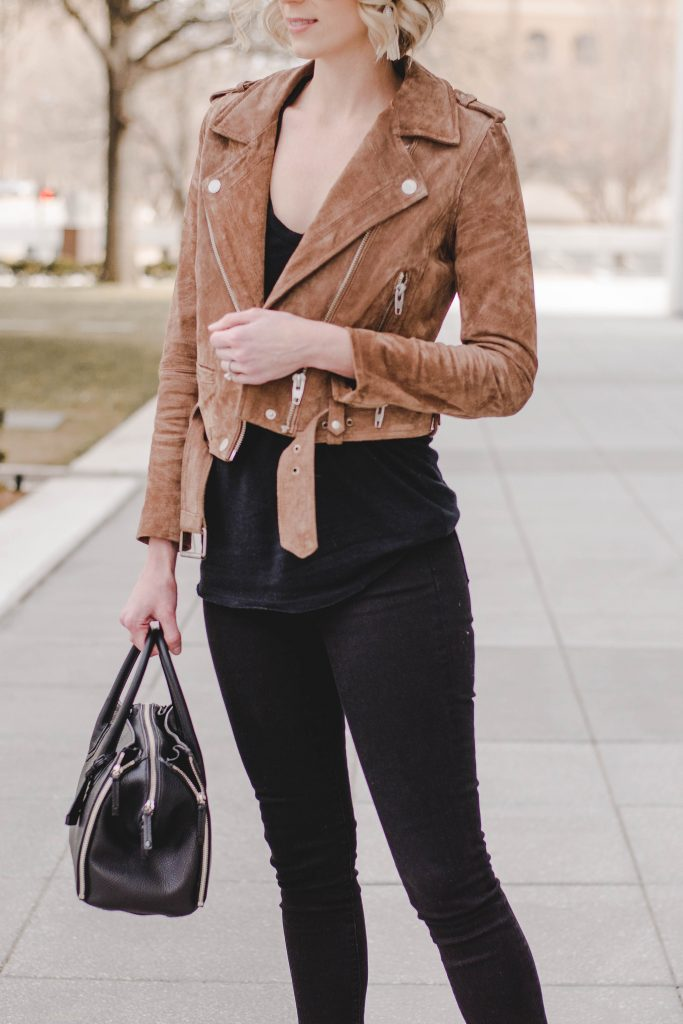 all black outfit with brown suede moto jacket