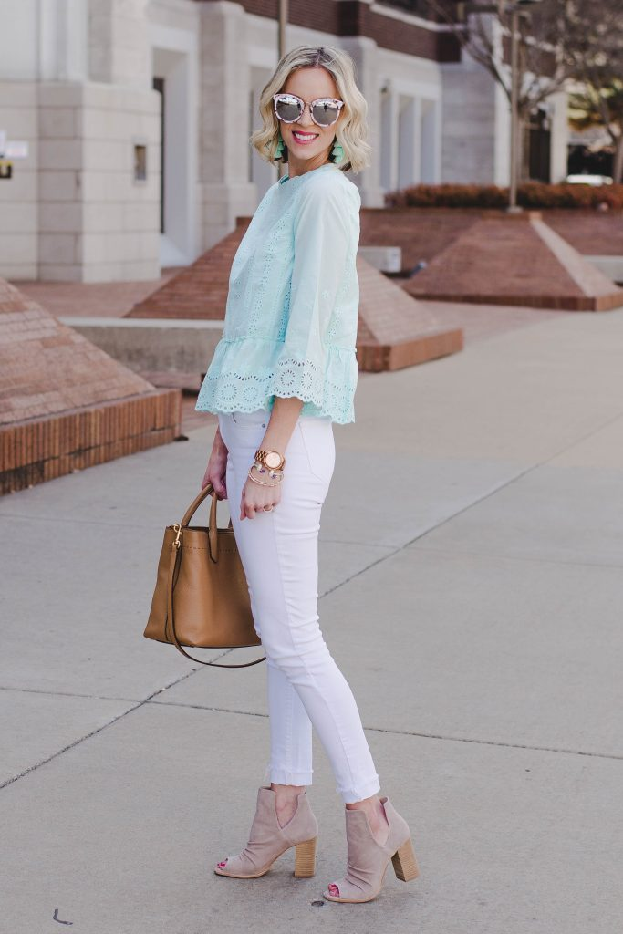 mint eyelet peplum top with white jeans