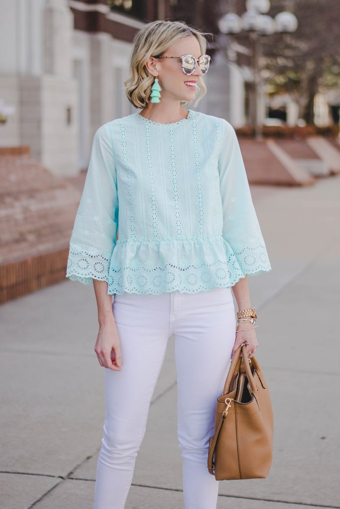 mint statement earrings with matching top