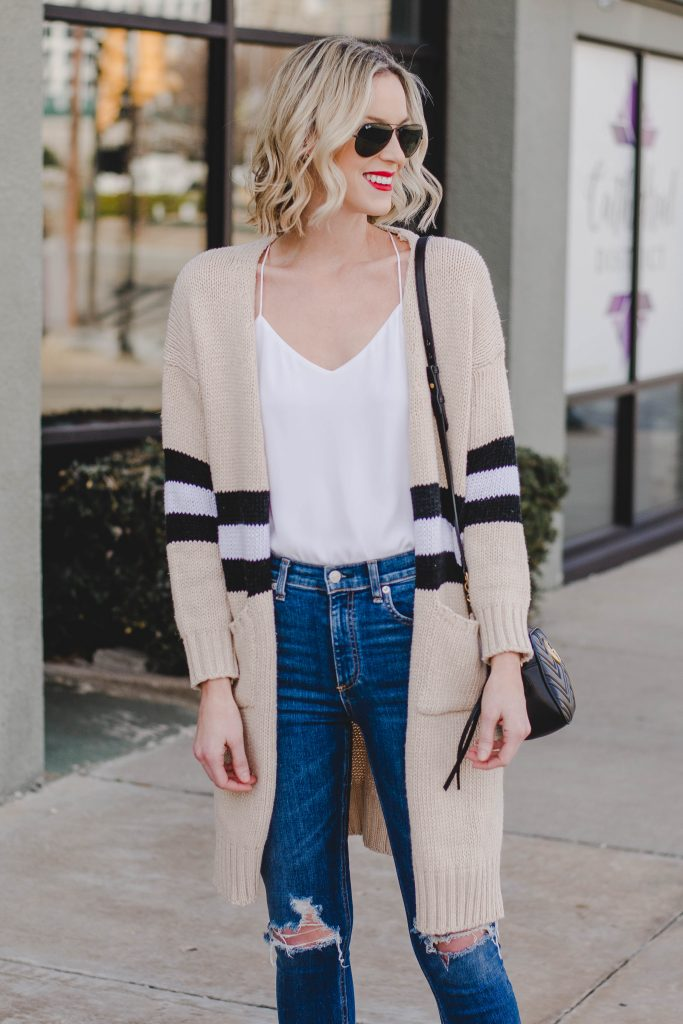 the cardigan that goes with everything, tan, black, and white cardigan