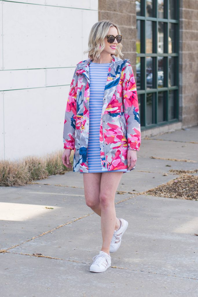 Joules rain coat and striped dress now available at Dillard's