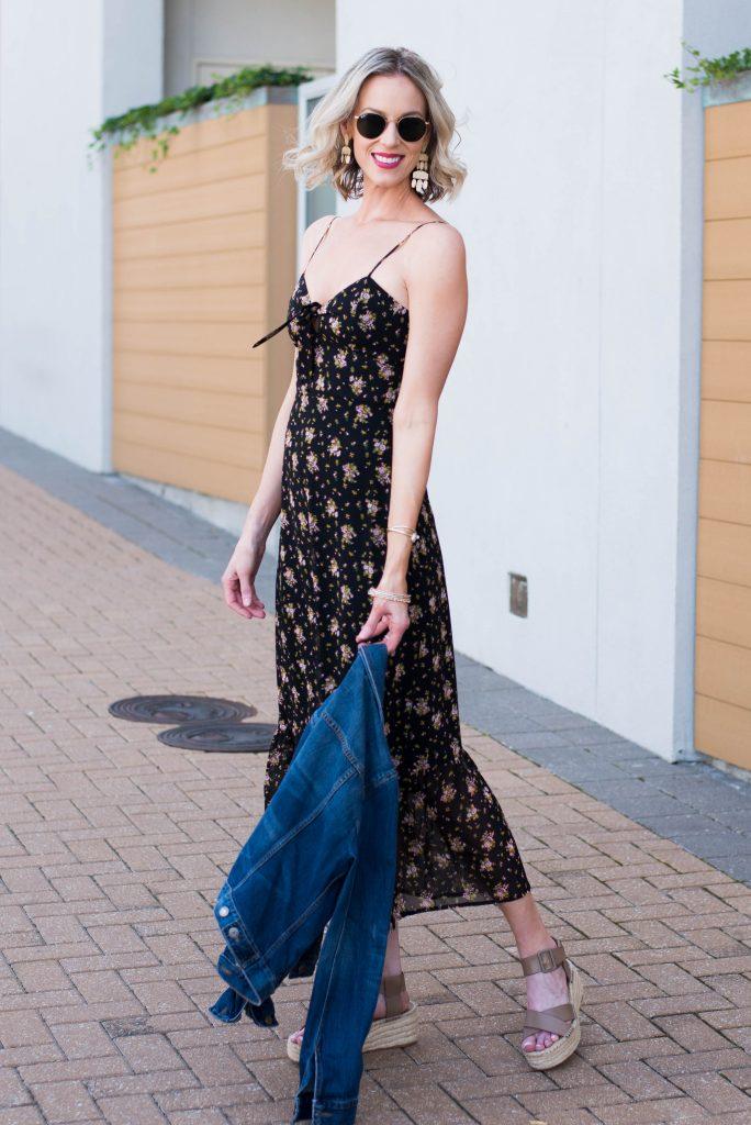 sleeveless dark floral midi dress