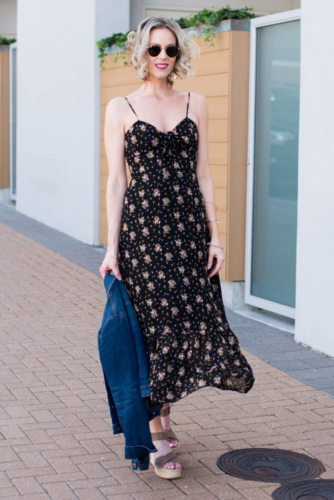 breezy floral midi dress with jean jacket