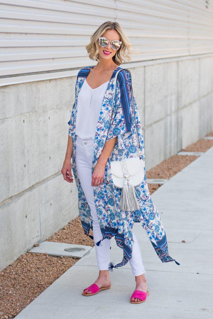 gorgeous blue and white kimono over white jeans and white cami