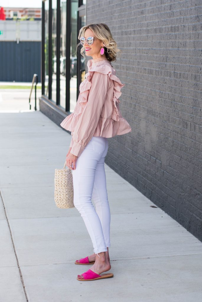 shades of pink with white jeans