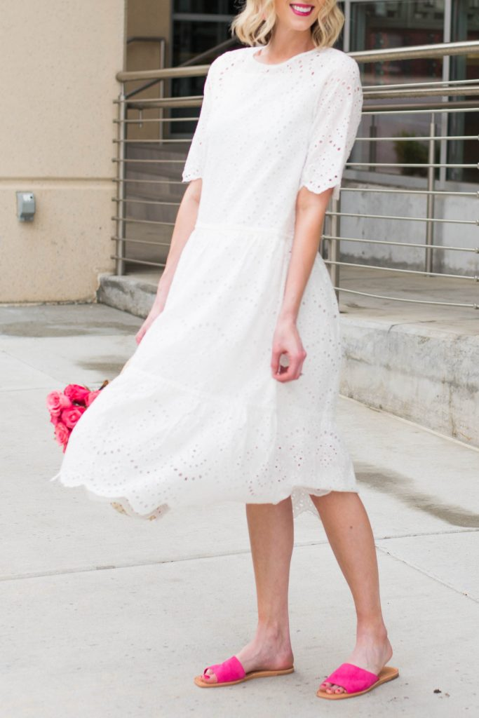 white dress with pink shoes