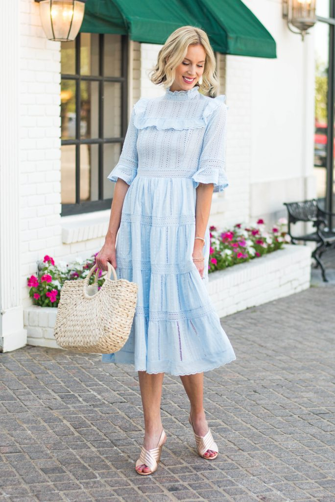 perfect spring and summer dress, light blue eyelet midi dress