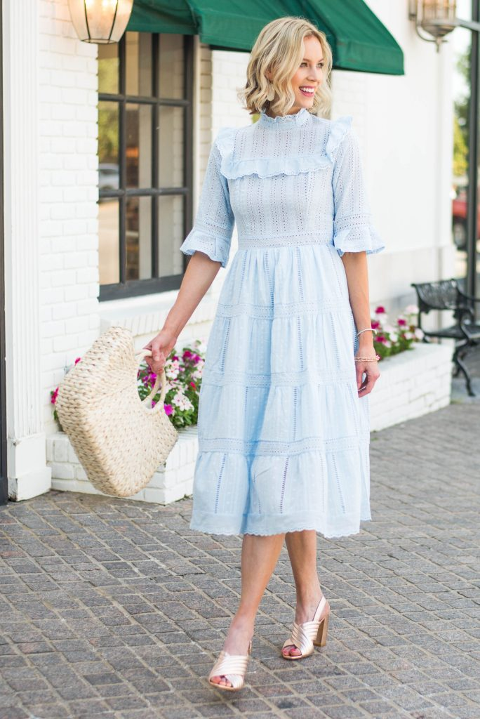 feminine baby blue dress for summer