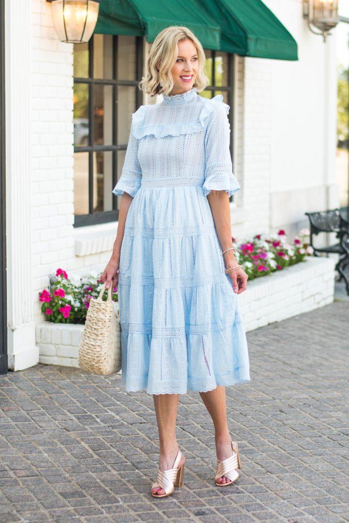high neck ruffle dress