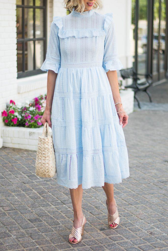 chic and beautiful ruffle blue dress