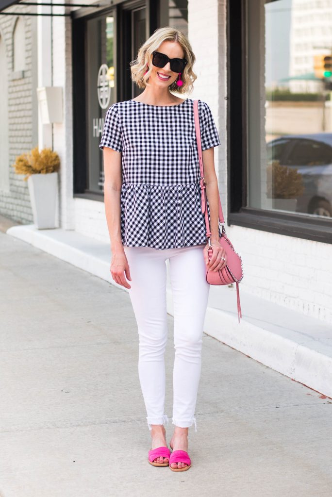 black and white gingham top with white jeans