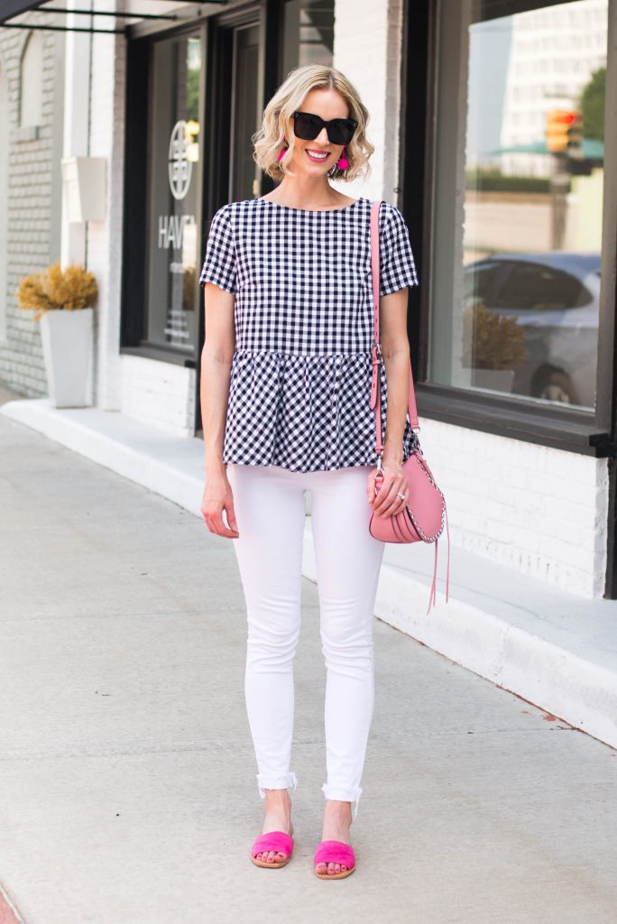 gingham peplum top with white jeans and pink accents