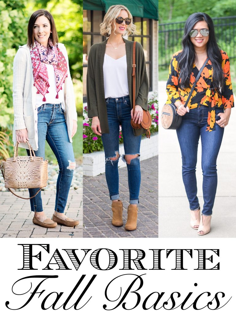 the best fall basics as shown by three bloggers