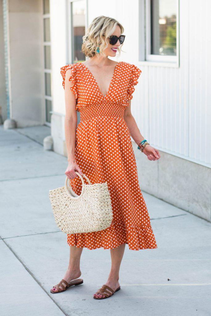 orange polka dot ruffle dress