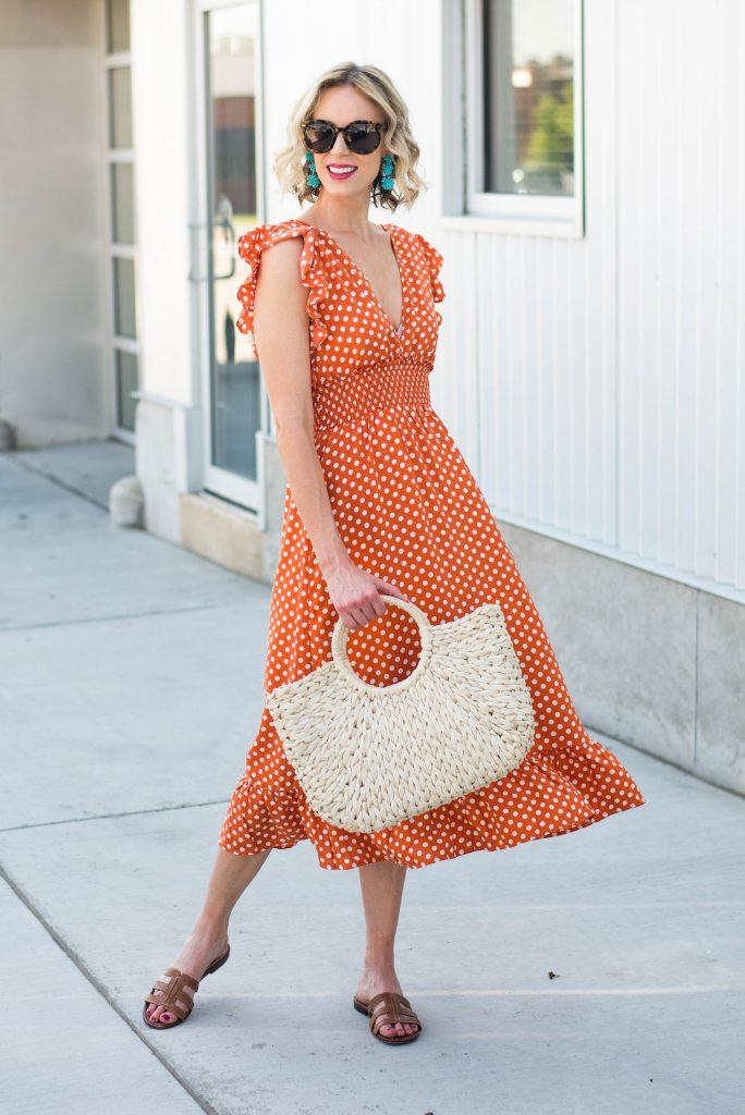 orange polka dot midi dress