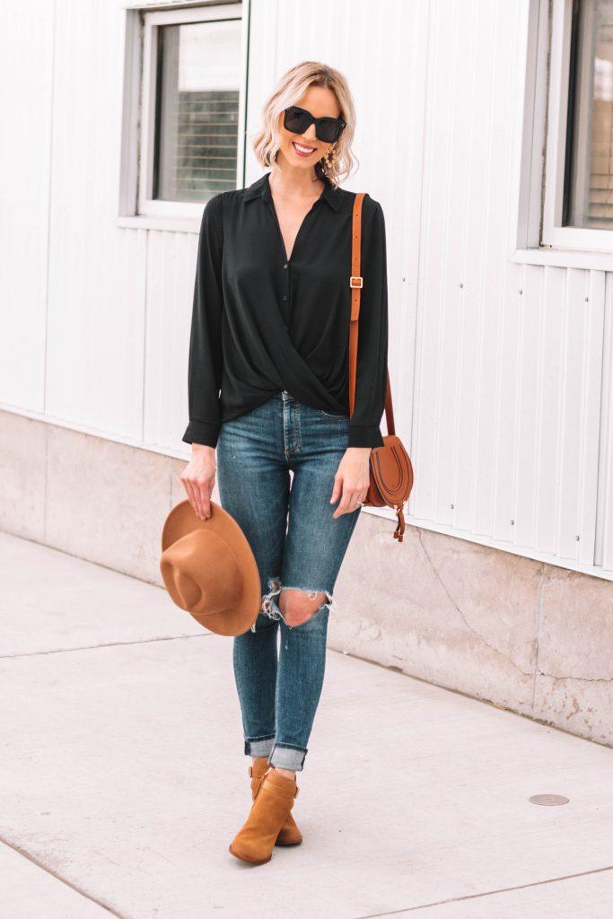 flattering faux wrap blouse