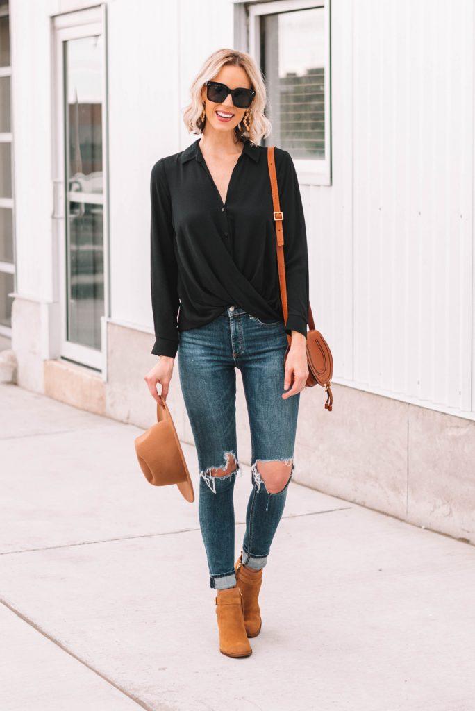 button front black wrap blouse