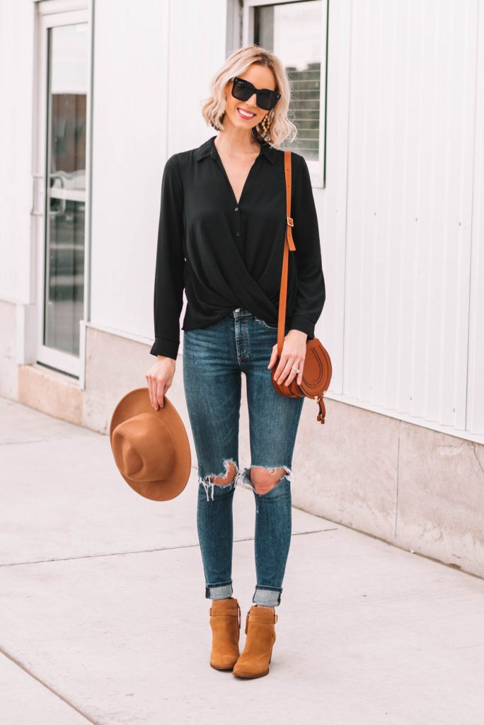 flattering faux wrap blouse for fall