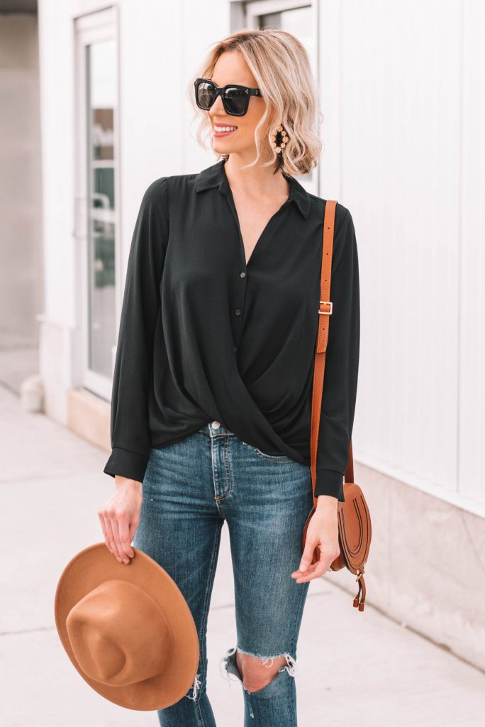 drape front blouse, black and tan outfit combo