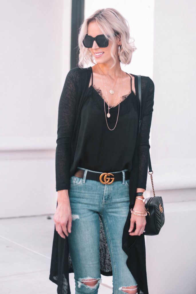 black lace camisole with duster cardigan and jeans for easy fall look