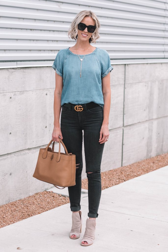Chambray shirt with black jeans