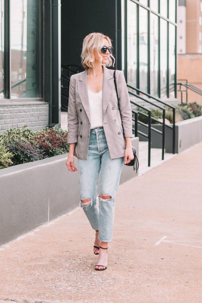 plaid blazer styled casually