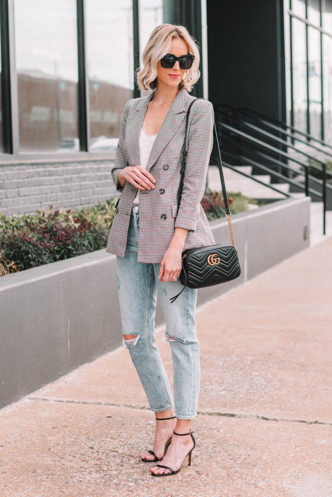 outfit ideas for a plaid blazer