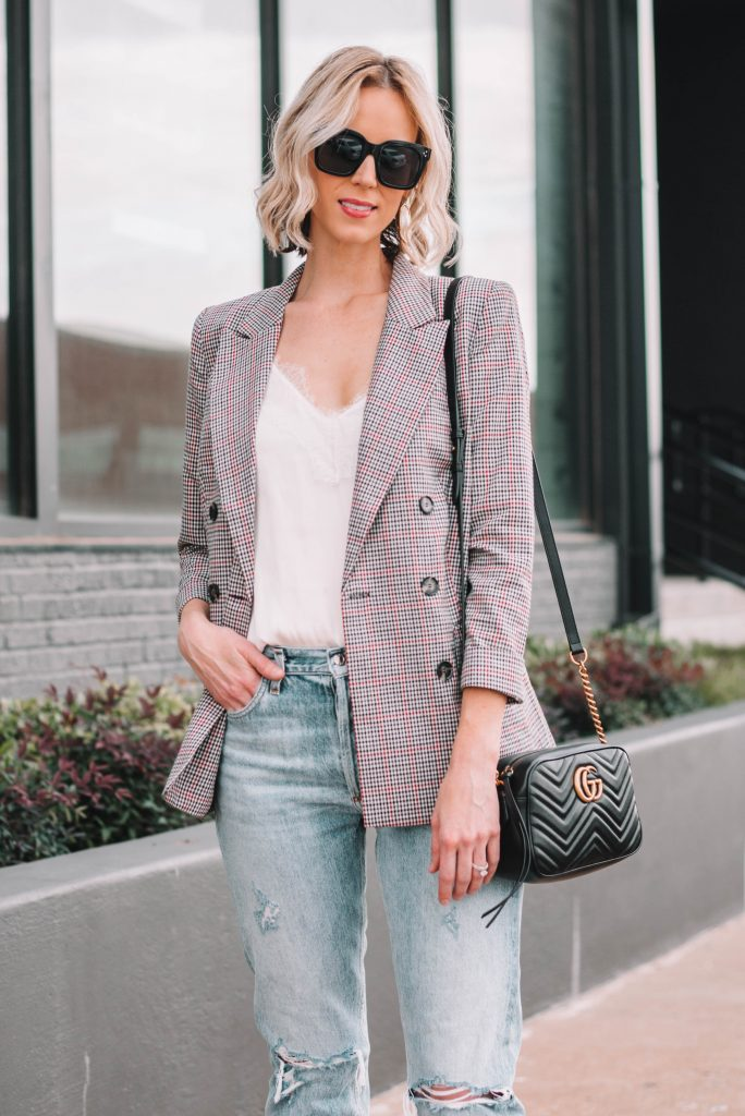 plaid blazer and lace tank top with jeans for weekend