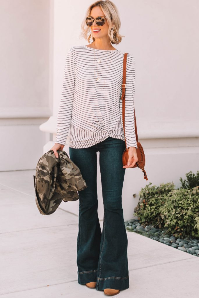 flattering twist front striped t-shirt with flare jeans