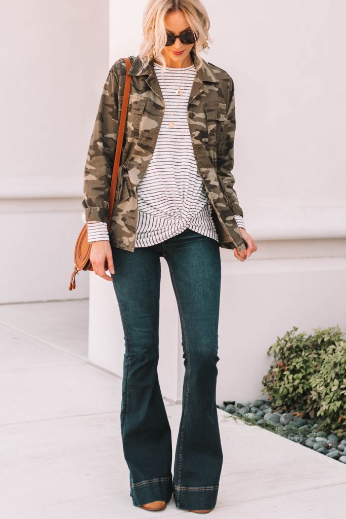 camo utility jacket with cute twist front striped top