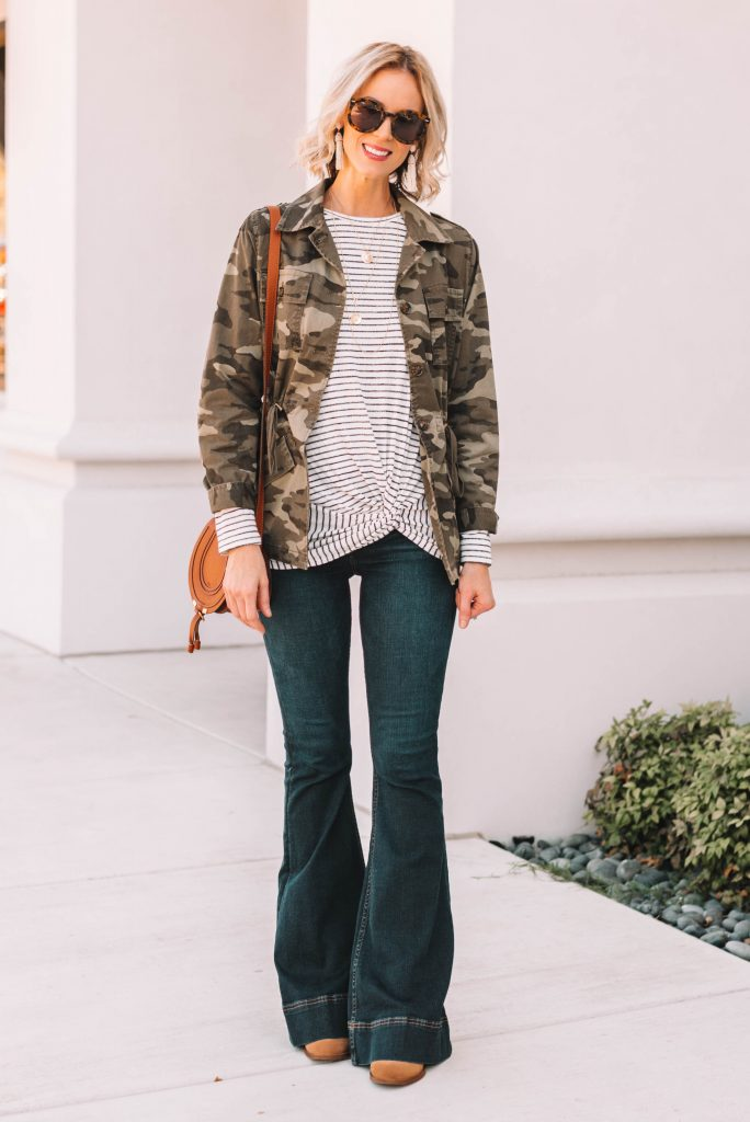 all about the details! cute striped twist front top with camo utility jacket and flare jeans