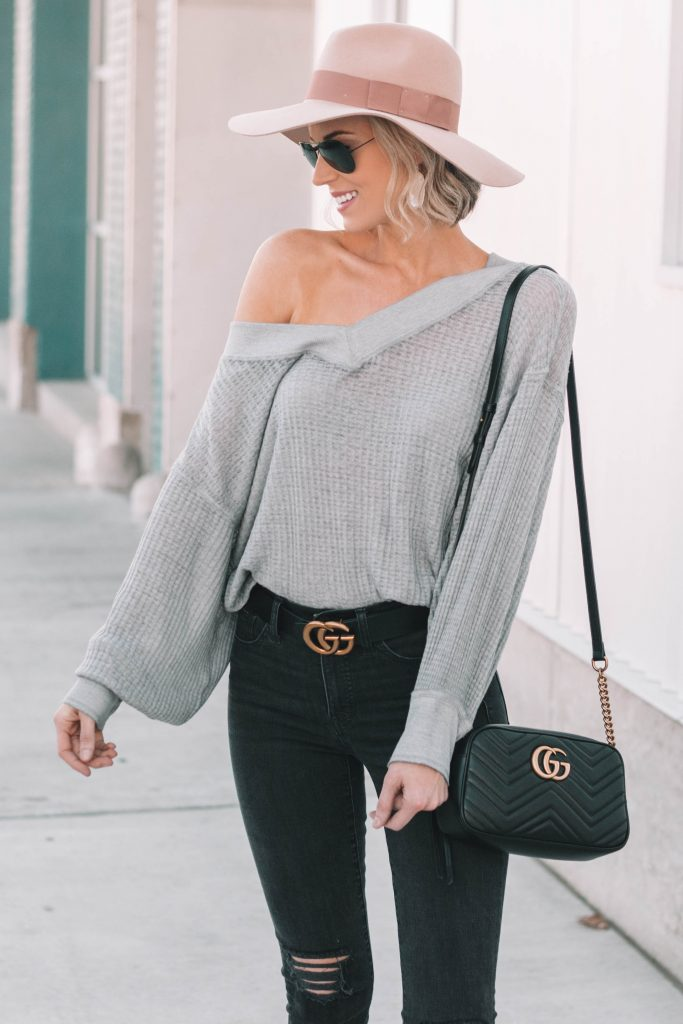off the shoulder thermal top, casual cool look