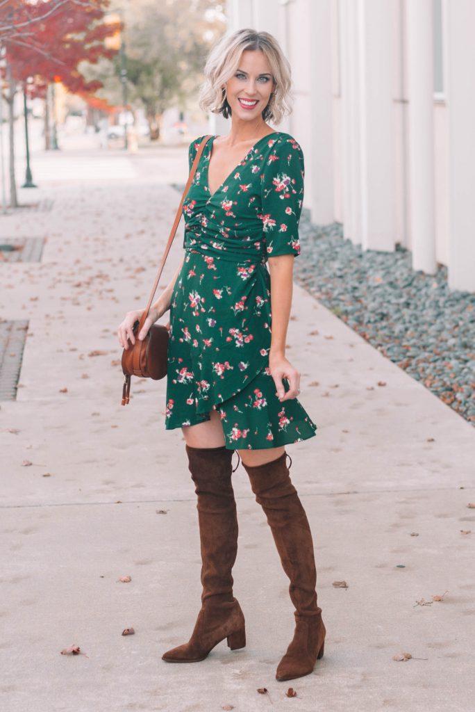 beautiful green mini dress with ruching and layered hem