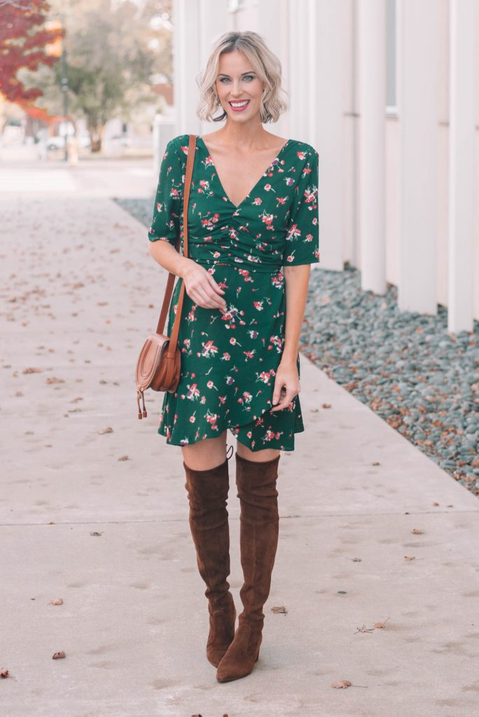 green mini dress with flowers perfect for holidays