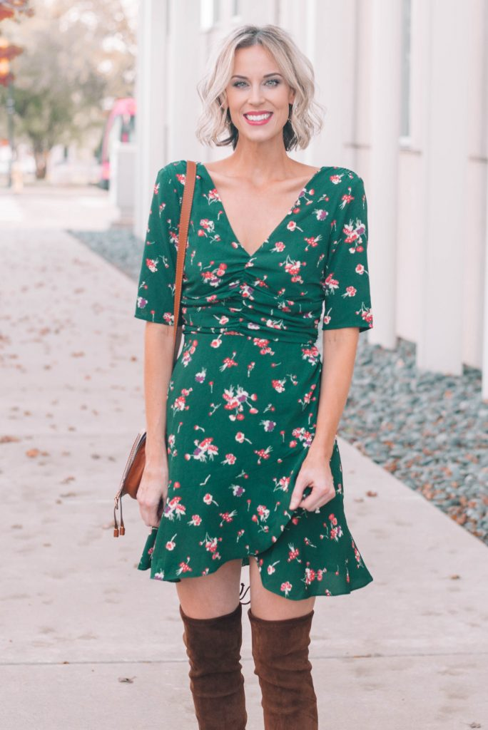 beautiful green mini dress with ruching and layered hem - perfect for the holidays