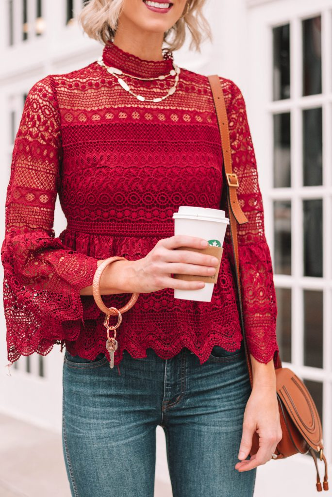 lace peplum top perfect for the holiday season