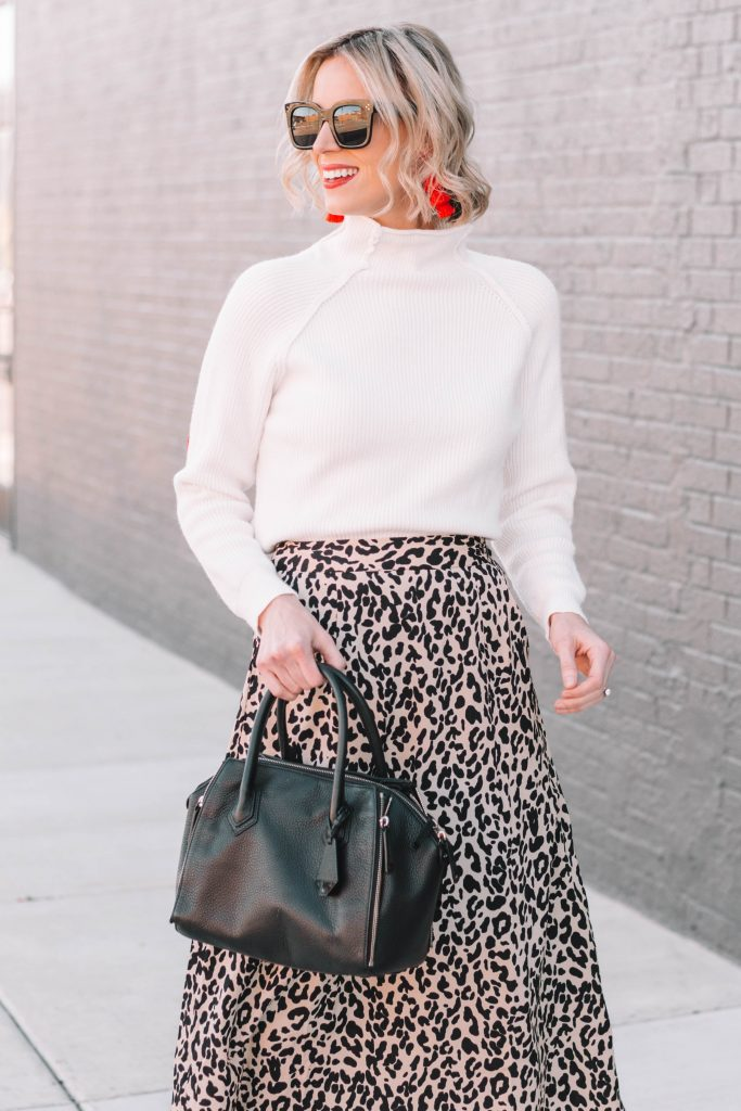 leopard midi skirt with cream sweater