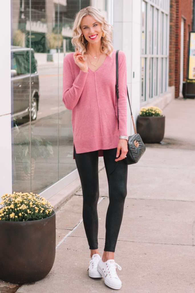 leather leggings and pink tunic