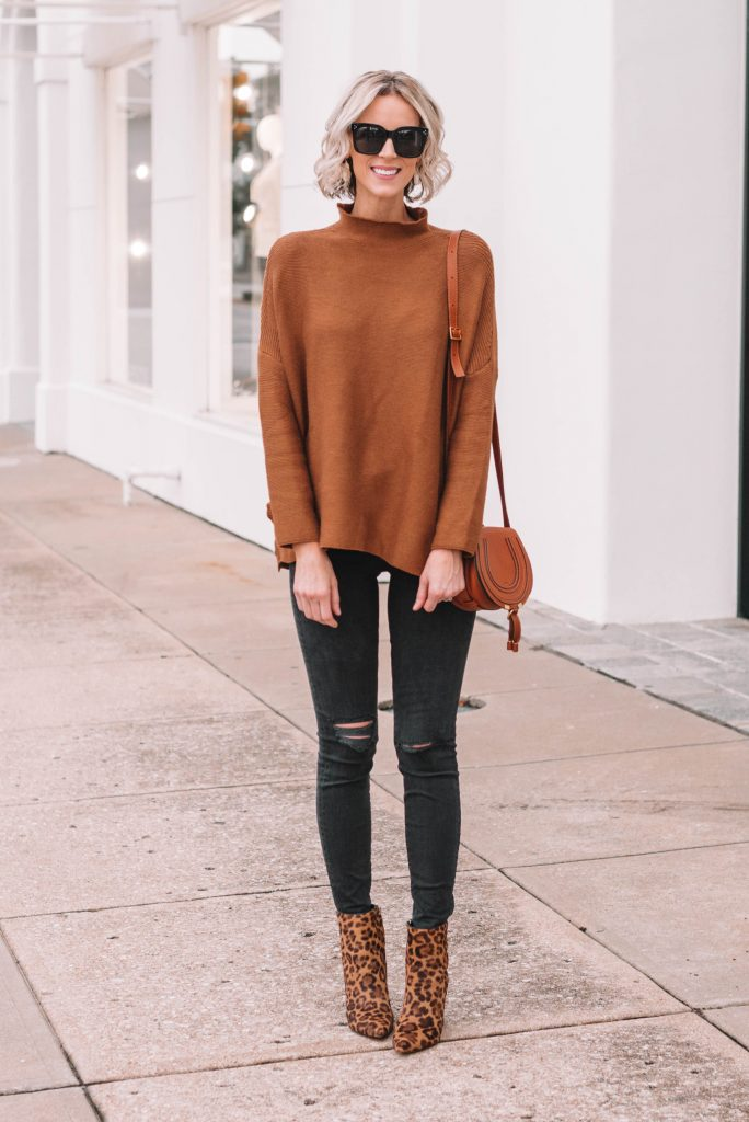 easy tunic sweater and jeans for fall