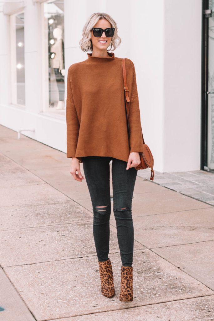 tan slouchy tunic sweater