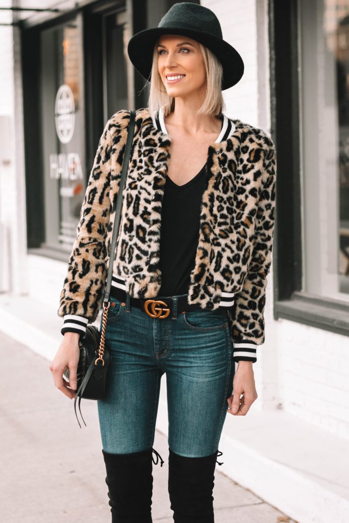 amazing leopard jacket with black tee and black hat