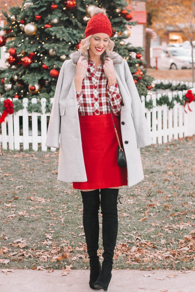 red a-line skirt, red and white plaid button up skirt, grey fur collar jacket, black over the knee boots
