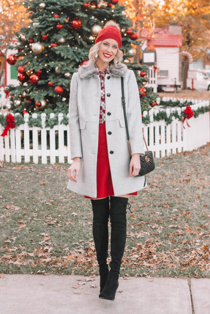 red a-line skirt, red and white plaid button up skirt, grey fur collar jacket, black over the knee boots, dressy holiday outfit idea