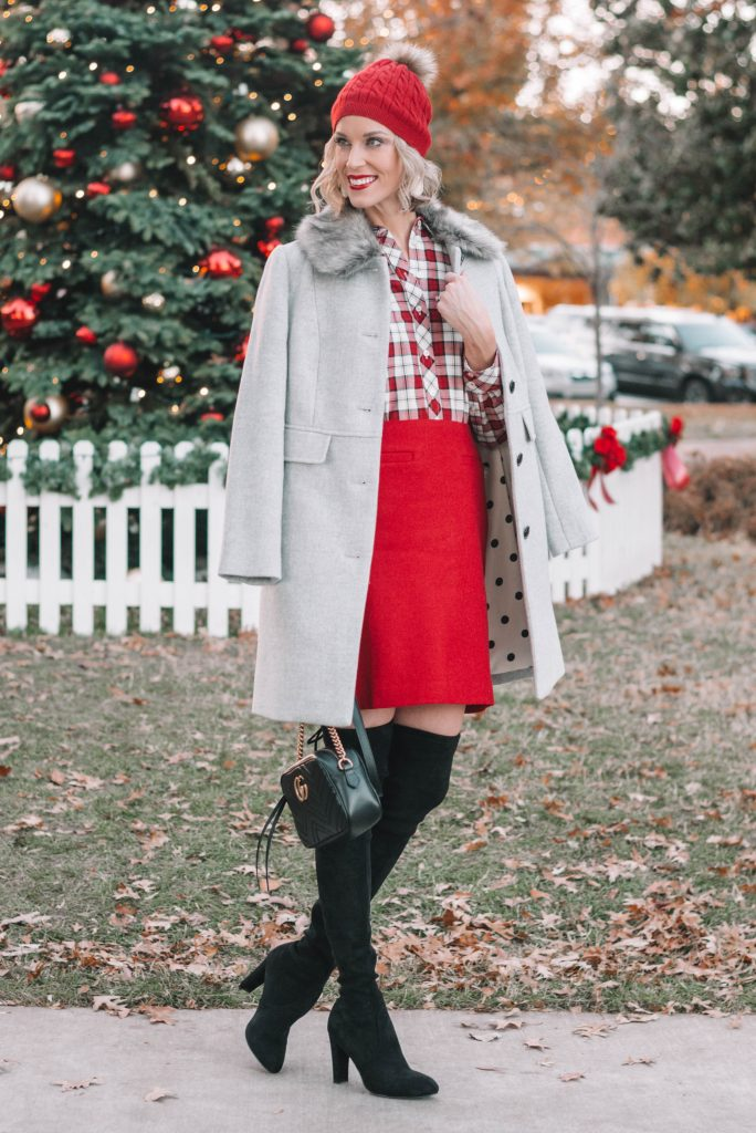Holiday Ready Look with Talbots, dressy holiday outfit, festive red holiday outfit