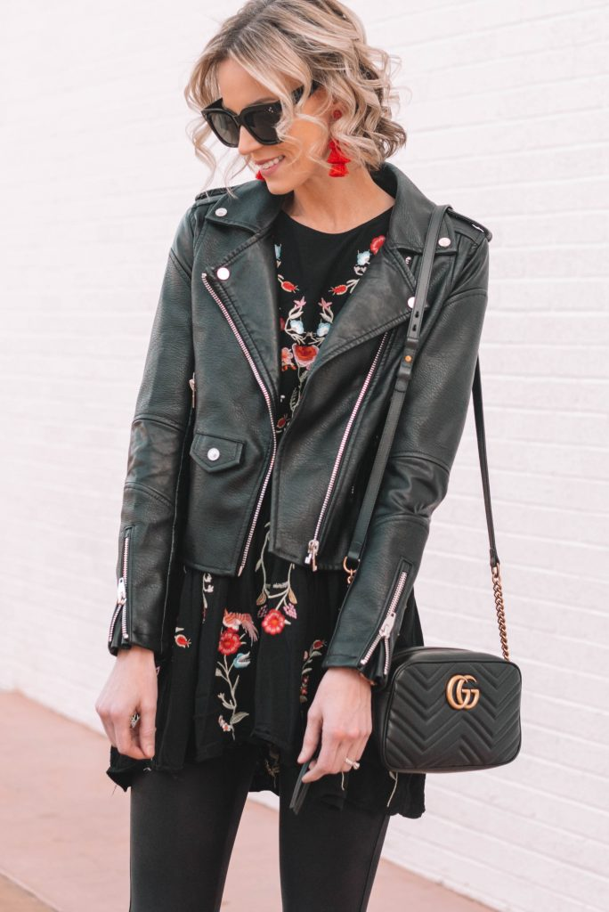 floral tunic top with leather leggings