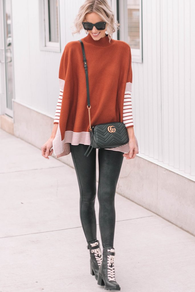 how to style Spanx leather leggings with a poncho