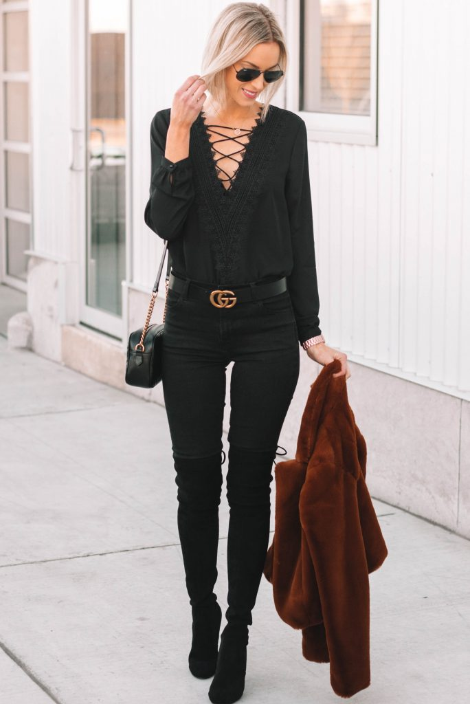 sexy all black outfit for date night