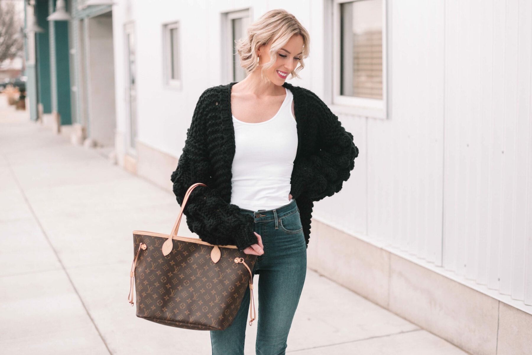 Chunky Black Cardigan - Straight A Style
