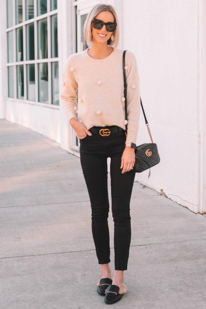 adorable cream pom pom sweater