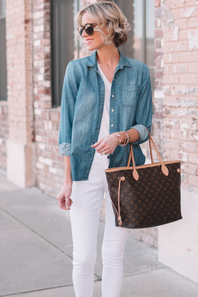 all white with chambray top as an outer layer